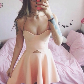 dress pink dress short dress pink cute dress cut-out dress skater dress pastel dress strapless dress