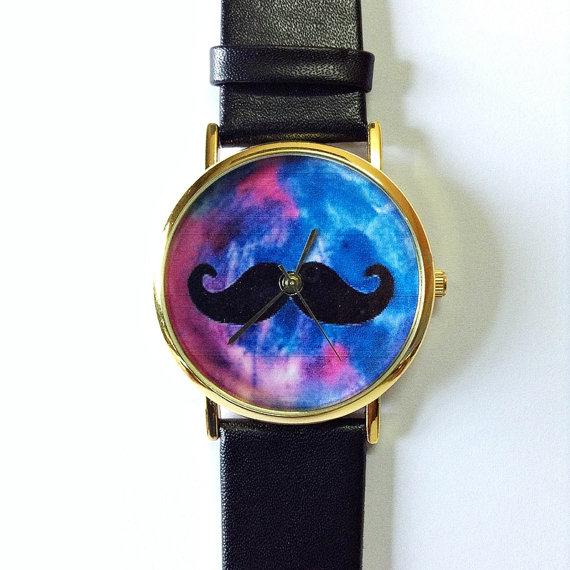 Moustache watch, galaxy watch, vintage style watch, victorian, leather watch, women's watch, men's watch