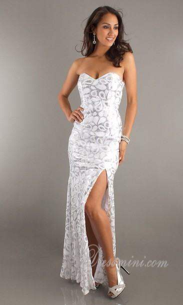 Dress: white, long prom dress, pageant prom dresses, sequins ...