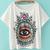 T-Shirt lâche motif œil -blanc
