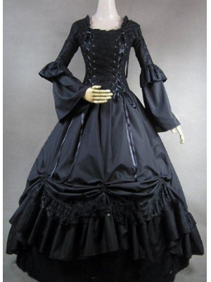 Buy Long Sleeve Cotton Gothic Lolita Dress with Lace-up and Lace under 200-SinoAnt.com