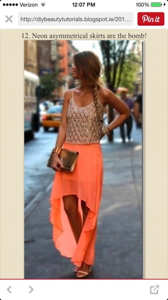 skirt tank top sequin coral gold sparkles high low skirts
