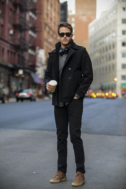 Mens Coat Pea Black Jeans Shirt Shoes Jacket