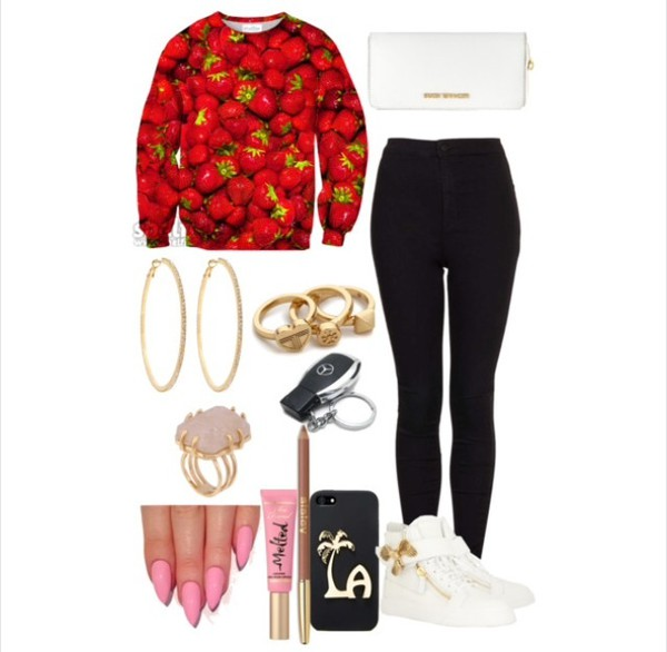 swimwear strawberry sweatshirt jeans sneakers giuseppe zanotti michael kors hoop earrings bag shoes nail polish sweater