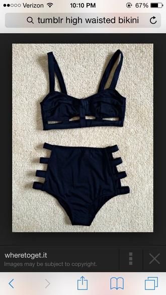 swimwear high waisted bikini black bikini