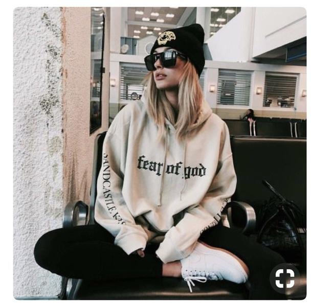 sweater fearofgod beige hoodie