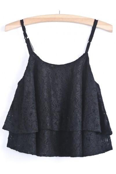 KCLOTH Floral Lace Black Vest