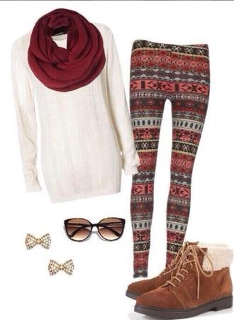 leggings white sweater jumper boots