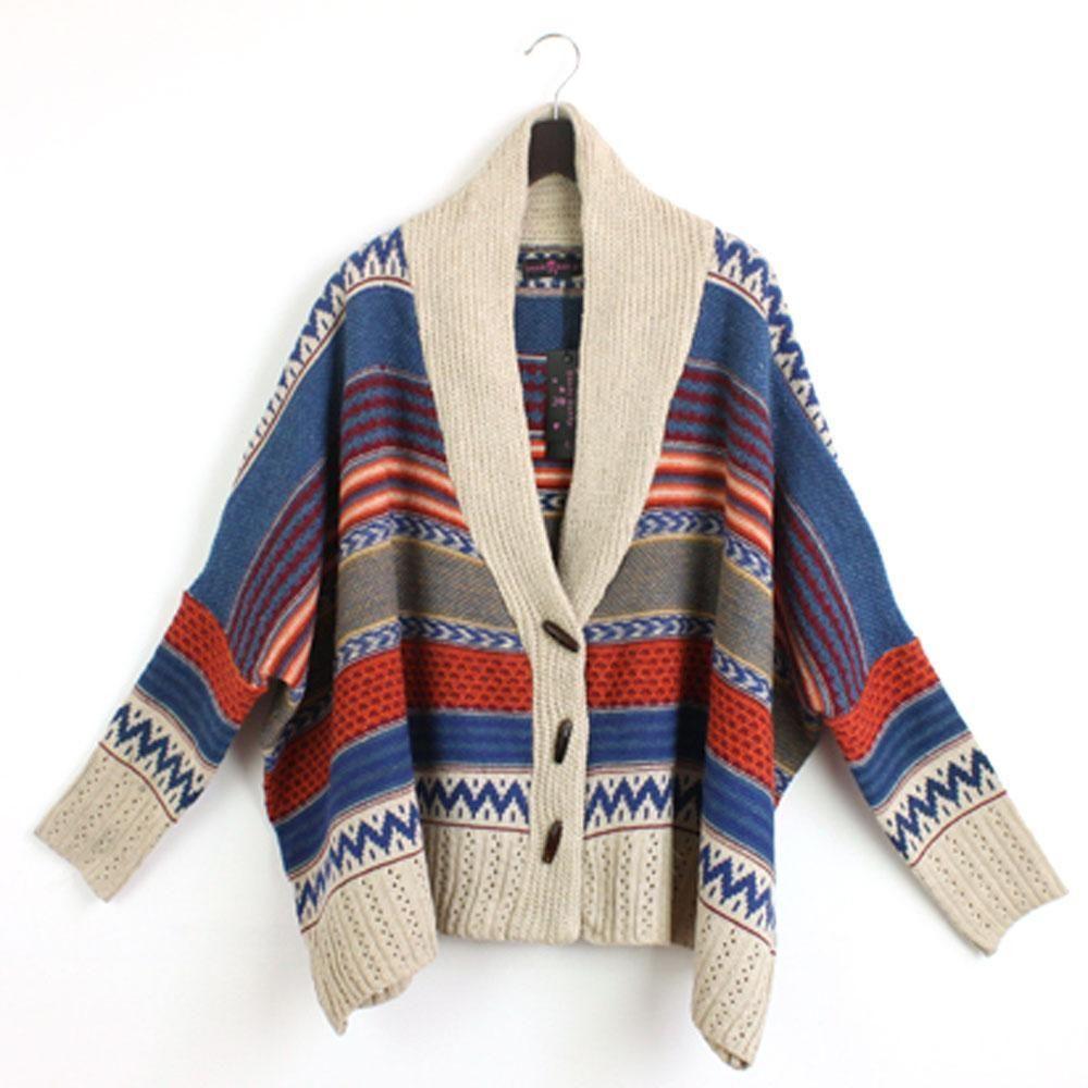Casual Tribal Oversized Knit Bat Sleeve Sweater Coat Knitwear ...