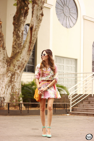 blogger print dress sunglasses aqua jewels fashion coolture satchel bag