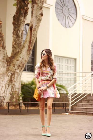 dress print fashion coolture blogger sunglasses jewels aqua satchel bag