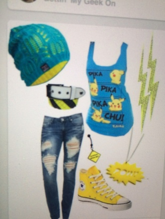 pikachu pokemon blouse thunderbolt necklace converse beenies jeans