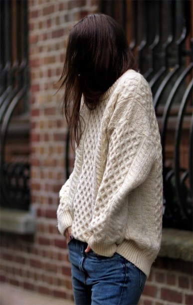 Sweater: knit, comfy, cute, casual, tumblr, cream, knitted sweater, oversized...