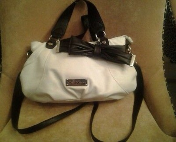 bag satchel purse black white handbag messenger messenger bag crossbody betsey betsey johnson bow tied