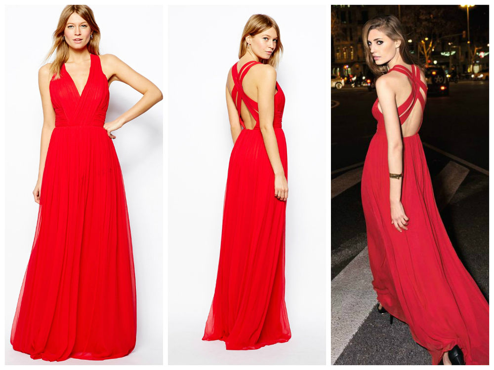 MANGO PLEATED RED SILK CROSS OPEN BACK MAXI DRESS GOWN *AS SEEN ON ASOS* M