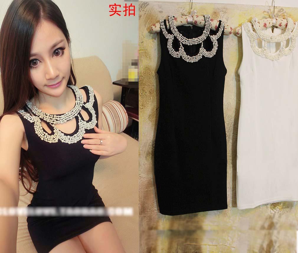 Hold 2014 ladies elegant small pearl neckline beading cutout hip slim one-piece dress | Amazing Shoes UK
