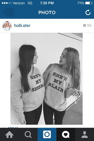 sweater gossip girl serena blair bff black white blair and serena blair serena