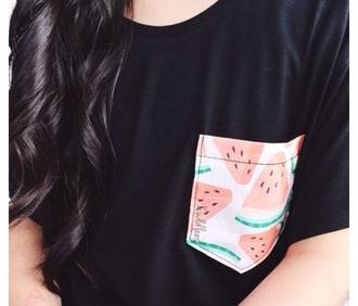 shirt black shirt watermelon print