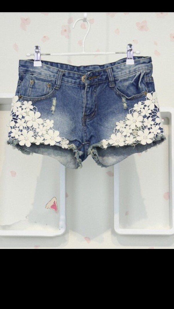 shorts lace jean shorts girly girl girly wishlist short shorts lace floral