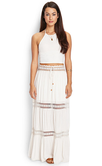 rasta skirt cut-out peasant beads see threw white lace maxi skirt blouse