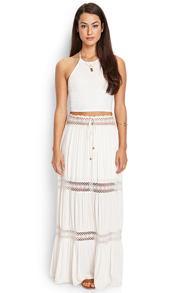 skirt cut-out white maxi skirt blouse