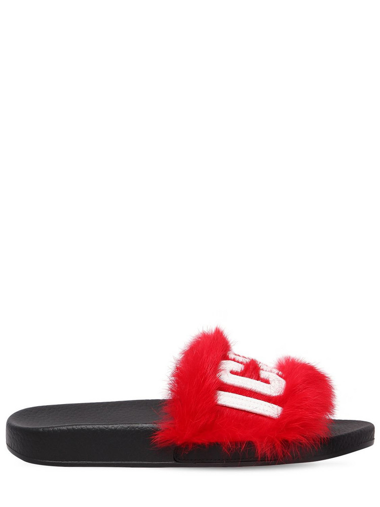 DSQUARED2 20mm Logo Lapin Fur Slide Sandals in red