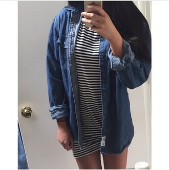 dress denim black white black and white love fashion tumblr instagram cool hot shopping summer t-shirt dress denim jacket style striped dress stripes jacket