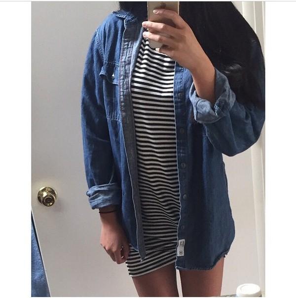 dress denim black white black and white love fashion tumblr instagram cool hot shopping summer t-shirt dress denim jacket style striped dress stripes jacket