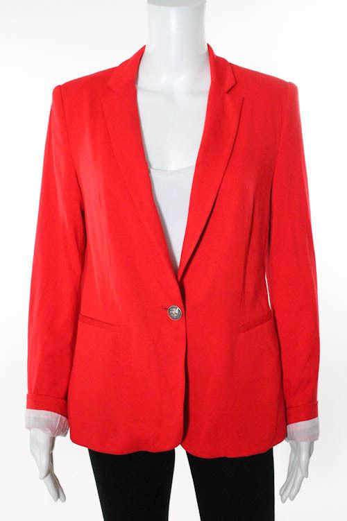 Zara basic bright red stretch one button v neck casual blazer jacket sz m