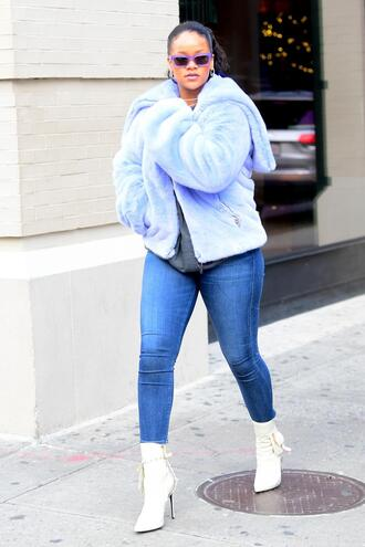 jeans skinny jeans ankle boots rihanna fur fur jacket streetstyle jacket