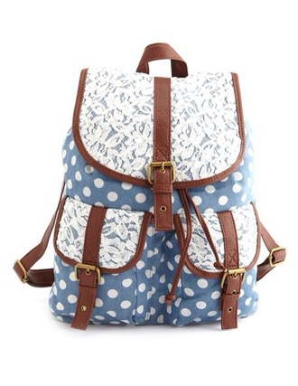 bag blue bag polka dots leather white backpack lace lace bags pocket school school bag