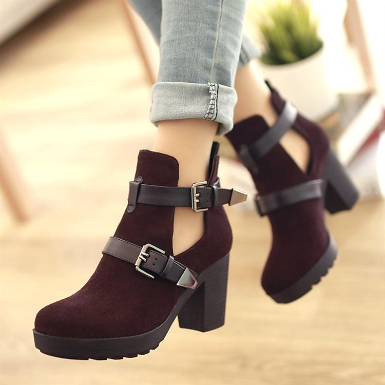 Nubuck leather thick heel high heeled shoes genuine leather shoes women's british style single boots red boots brown spring