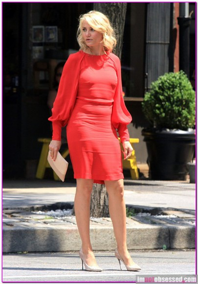 movie super hot cameron diaz blonde hair theotherwoman wheretogetit? official formal dress party office dress long sleeve dress red dress