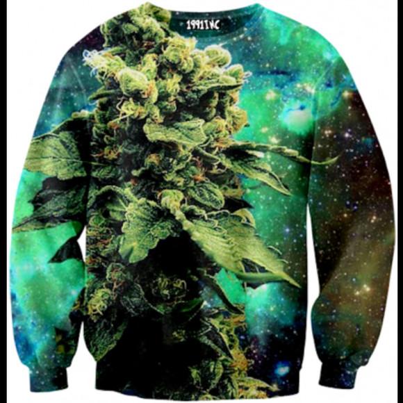 galaxy print sweater weed