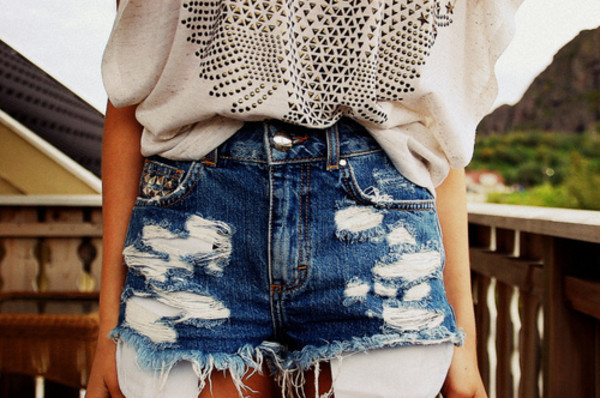 shorts summer studs High waisted shorts vintage t-shirt