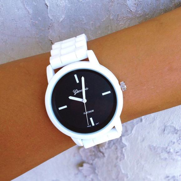 jewels watch cute silicone geneva black and white