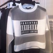 see through,white,sweater,mesh,crewneck,jumper,brand,clear,black and white,sweatshirt,swag,white sweater