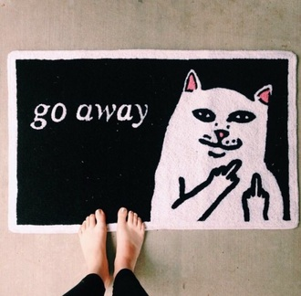 home accessory doormat funny rug go away cats
