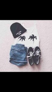 top,palm tree print,summer
