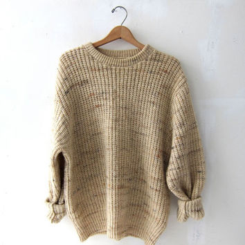 vintage natural cream brown sweater. oversized sweater. on Wanelo