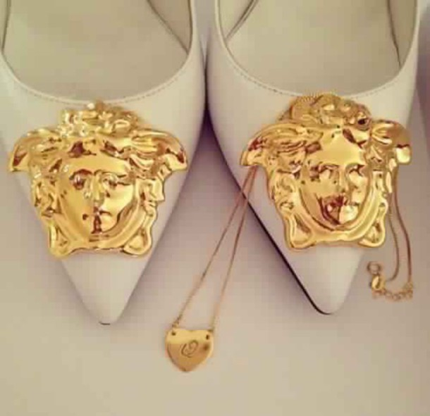 shoes heels gold white white heels