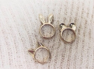 jewels ears rongs bunny bear cats jewelry gold jewelry ring cute animal animal ears rings gold ring accessories mouse animal ears