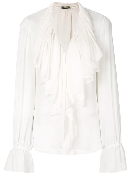 Plein Sud blouse ruffle women white silk top