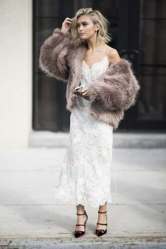 dress pink fur coat sexy dress date outfit blogger strappy black heels white slip dress