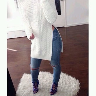 sweater long sweater white sweater knitted sweater open sweater long sleeves soft warm cozy jeans
