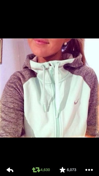mint jacket grey sleeves hoodie mint jacket turtle hood