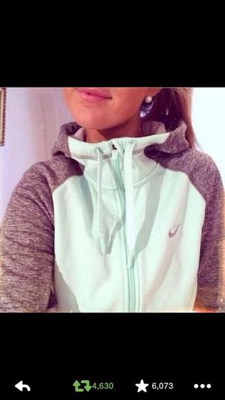 mint jacket grey sleeves hoodie mint jacket turtle hood