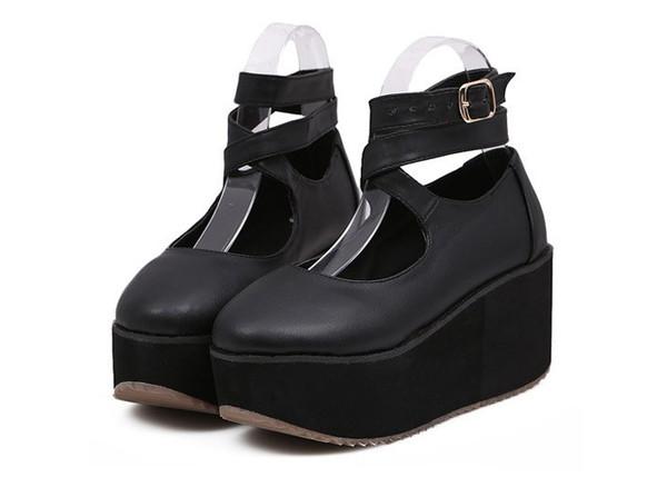 shoes gothic lolita lolita shoes straps cross straps black platform chinese rocking hourse platform shoes platform shoes preppy lolita plataforma harajuku bopper japanese japanese fashion harajuku lolita