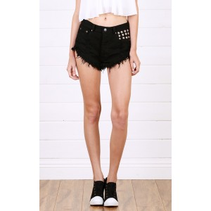 Black Studded High Waisted Denim Shorts and Shop Shorts at MakeMeChic.com