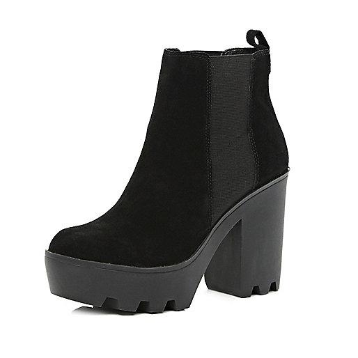 Black suede block heel chelsea boots